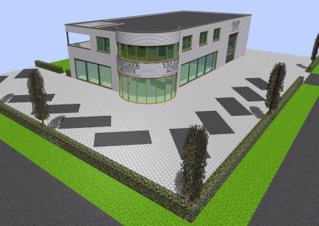 Bedrijfsgebouw met woning 3D ontwerp